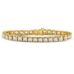 5 CTW Round Diamond Timeless Tennis Bracelet 14kt Yellow Gold - REF-528F3M