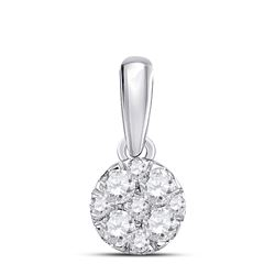 1/4 CTW Round Diamond Fashion Cluster Pendant 14kt White Gold - REF-21X5T