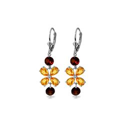 Genuine 5.32 ctw Citrine & Garnet Earrings 14KT White Gold - REF-50Y3F