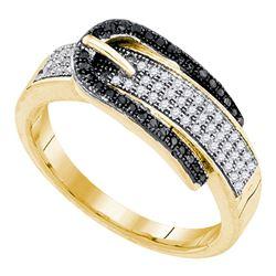 1/4 CTW Round Black Color Enhanced Diamond Belt Buckle Ring 10kt Yellow Gold - REF-27K5R