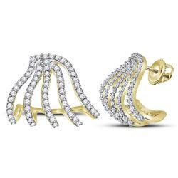5/8 CTW Round Diamond Lobe Half Hoop Earrings 10kt Yellow Gold - REF-47T9K