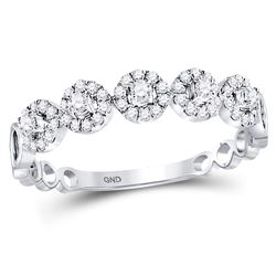 1/3 CTW Round Diamond Halo Solitaire Stackable Ring 10kt White Gold - REF-26K3R
