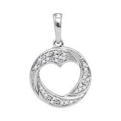 1/12 CTW Round Diamond Circle Heart Cutout Pendant 10kt White Gold - REF-9T3K