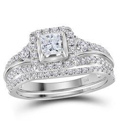 7/8 CTW Princess Diamond Bridal Wedding Engagement Ring 14kt White Gold - REF-95F9M