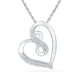 1/10 CTW Round Diamond Heart Infinity Pendant 10kt White Gold - REF-18K3R