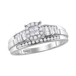 1/2 CTW Princess Round Diamond Cluster Bridal Wedding Engagement Ring 10kt White Gold - REF-39K6R