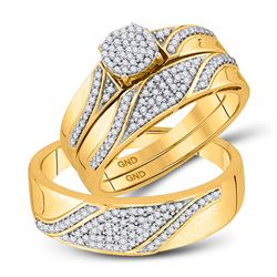 1/2 CTW His & Hers Round Diamond Cluster Matching Bridal Wedding Ring 10kt Yellow Gold - REF-54M3A