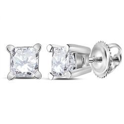 1/2 CTW Unisex Princess Diamond Solitaire Stud Earrings 14kt White Gold - REF-47M9A