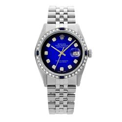 Rolex Pre-owned 36mm Mens Blue Vignette Stainless Steel - REF-580M2R