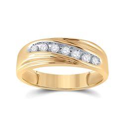 1/4 CTW Mens Round Diamond Wedding Ring 14kt Yellow Gold - REF-27R5H