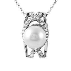 9.99 CTW Pearl & Diamond Necklace 18K White Gold - REF-96M9F