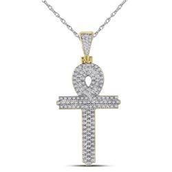 3/8 CTW Mens Round Diamond Ankh Cross Religious Charm Pendant 10kt Yellow Gold - REF-39N3Y
