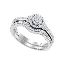 1/4 CTW Round Diamond Cluster Bridal Wedding Engagement Ring 10kt White Gold - REF-21F5M