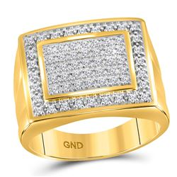 1/2 CTW Mens Round Diamond Square Frame Cluster Ring 10kt Yellow Gold - REF-39X6T