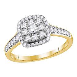 5/8 CTW Round Diamond Round Halo Bridal Wedding Engagement Ring 14kt Yellow Gold - REF-65Y9X