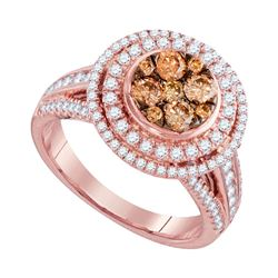 1 & 1/2 CTW Round Brown Diamond Cluster Bridal Wedding Engagement Ring 14kt Rose Gold - REF-126A3N