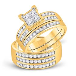 1 & 5/8 CTW His & Hers Princess Diamond Cluster Matching Bridal Wedding Ring 10kt Yellow Gold - REF-