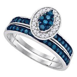 1/2 CTW Round Blue Color Enhanced Diamond Bridal Wedding Ring 10kt White Gold - REF-20X9T