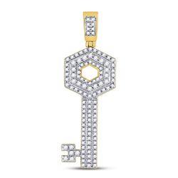 5/8 CTW Mens Round Diamond Key Charm Pendant 10kt Yellow Gold - REF-33A3N