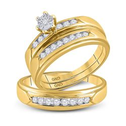 1/2 CTW His & Hers Round Diamond Solitaire Matching Bridal Wedding Ring 14kt Yellow Gold - REF-71F9M
