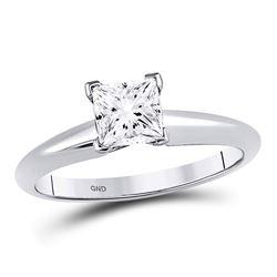 1 CTW Princess Diamond Solitaire Bridal Wedding Engagement Ring 14kt White Gold - REF-273R6H
