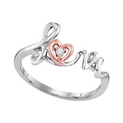 0.02 CTW Round Diamond Heart Ring 10kt Two-tone Rose Gold - REF-9R6H
