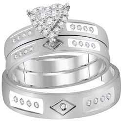 1/4 CTW His & Hers Round Diamond Heart Matching Bridal Wedding Ring 14kt White Gold - REF-60T3K