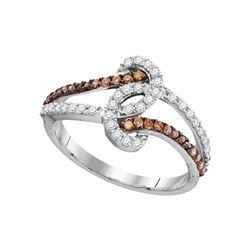 1/2 CTW Round Brown Diamond Strand Ring 10kt White Gold - REF-24T3K