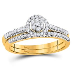 1/3 CTW Round Diamond Cluster Bridal Wedding Engagement Ring 10kt Yellow Gold - REF-27W5F