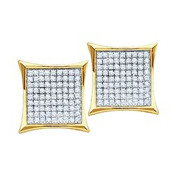 1/10 CTW Round Diamond Square Kite Cluster Earrings 10kt Yellow Gold - REF-9X6T