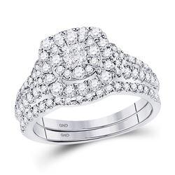 1 CTW Princess Diamond Bridal Wedding Engagement Ring 14kt White Gold - REF-90H3W