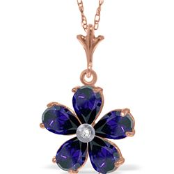 Genuine 2.22 ctw Sapphire & Diamond Necklace 14KT Rose Gold - REF-36T3A