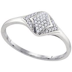 1/10 CTW Round Diamond Cluster Fashion Ring 10kt White Gold - REF-10Y2X
