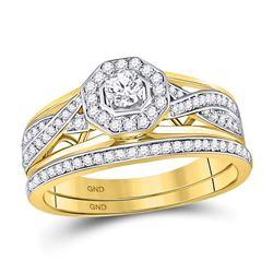1/2 CTW Round Diamond Twist Bridal Wedding Engagement Ring 14kt Yellow Gold - REF-75Y5X