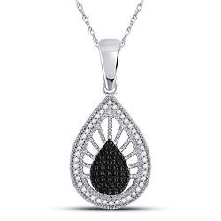 1/4 CTW Round Black Color Enhanced Diamond Teardrop Pendant 10kt White Gold - REF-19F2M