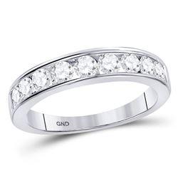 7/8 CTW Round Diamond Wedding Single Row Ring 14kt White Gold - REF-74R4H