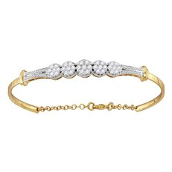 1 CTW Round Diamond Cluster Promise Bangle Bracelet 10kt Yellow Gold - REF-81T3K