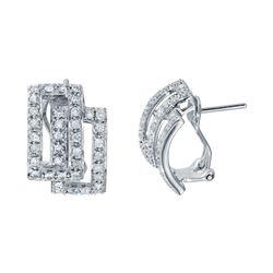 0.92 CTW Diamond Earrings 14K White Gold - REF-69M3F