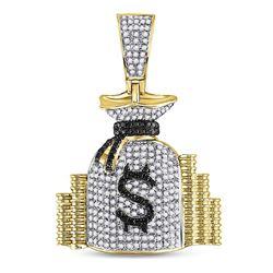 3/4 CTW Mens Round Diamond Money Bag Stacks Charm Pendant 10kt Yellow Gold - REF-45K6R