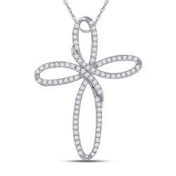 1/4 CTW Round Diamond Cross Pendant 10kt White Gold - REF-13N2Y