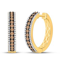 1 CTW Round Brown Diamond Hoop Earrings 14kt Yellow Gold - REF-69Y3X