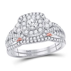1 CTW Round Diamond Bridal Wedding Engagement Ring 14kt Two-tone Gold - REF-101X9T