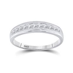 3/4 CTW Mens Princess Diamond Single Row Wedding Ring 10kt White Gold - REF-47A9N
