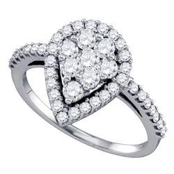 1 CTW Round Diamond Teardrop-shape Cluster Engagement Anniversary Bridal Ring 10kt White Gold - REF-
