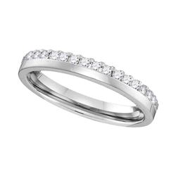 1/5 CTW Round Diamond Wedding Ring 14kt White Gold - REF-30A3N