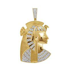 3/8 CTW Mens Round Diamond Pharaoh Charm Pendant 10kt Yellow Gold - REF-71K9R