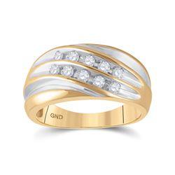 1/2 CTW Mens Round Diamond Wedding Ring 10kt Yellow Gold - REF-35N9Y