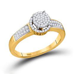 1/4 CTW Round Diamond Cluster Bridal Wedding Engagement Ring 10kt Yellow Gold - REF-18H3W