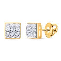 1/4 CTW Princess Diamond Square Earrings 14kt Yellow Gold - REF-16N8Y