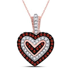 1/5 CTW Round Red Color Enhanced Diamond Small Heart Pendant 10kt Rose Gold - REF-15H5W